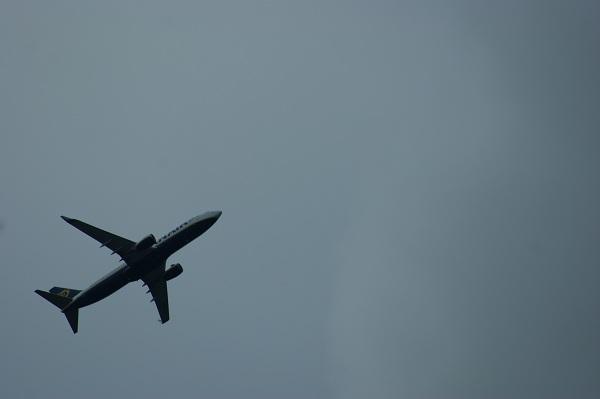 Самолёт в сером небе
