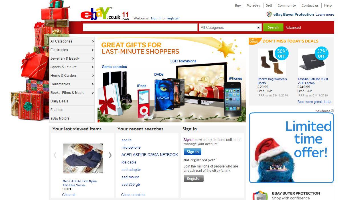 Ebay перед Рождеством